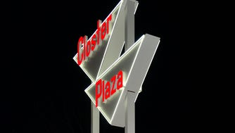 "The new Closter Plaza ""Dancing Diamonds"" sign was lighted on Tuesday."