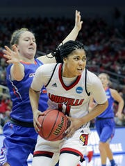 Louisville's Arica Carter battles against Boise State's