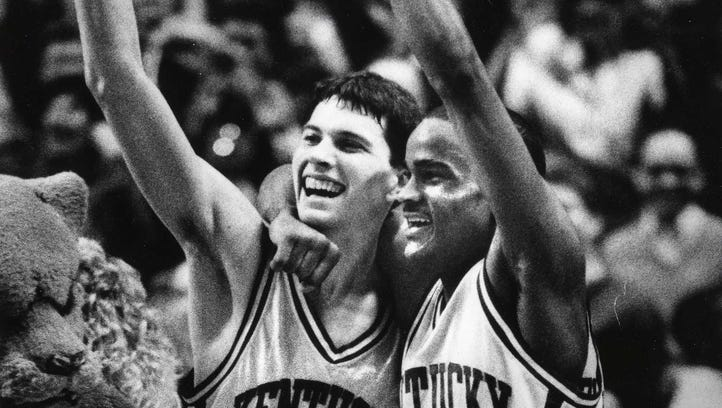 UK's Rex Chapman and Ed Davender begin to celebrate during the 1987-88 season.