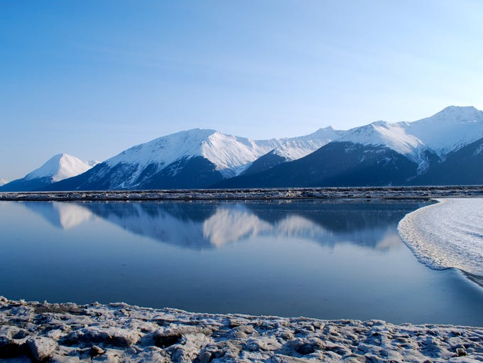 For 127 miles, Seward Highway, south of Anchorage,