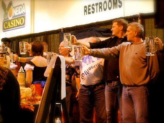 The Samuel Adams stein hoisting competition returns.