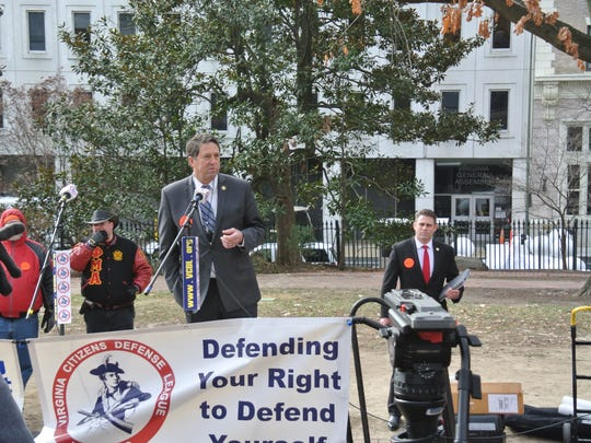 Del. Dave LaRock speaks at the gun rights rally in