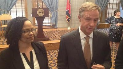 Gov. Bill Haslam, right, and Malika Anderson, superintendent of the Tennessee Achievement School District.