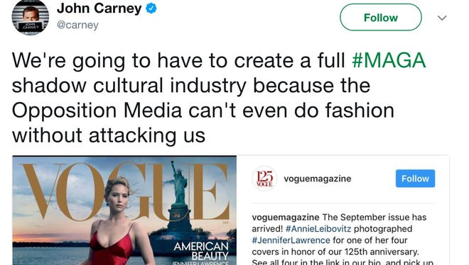 John Carney criticized the cover of Vogue's September issue.
