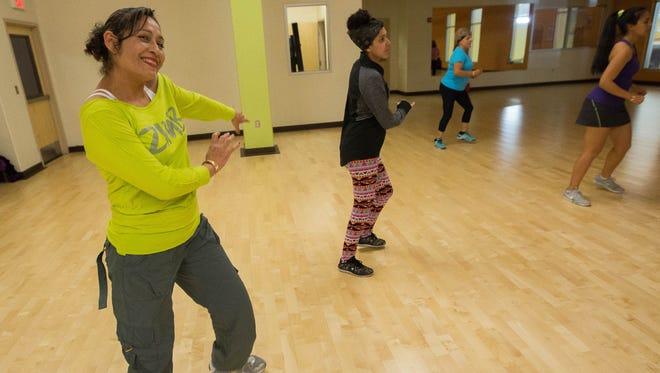 Georgina Valenzuela, dancing in a Zumba class on Wednesday, Dec. 27, 2017 at the Las Cruces Regional Aquatic Center.