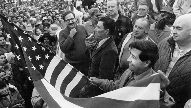 Farmworker leader Cesar Chavez at a labor rally in Salinas in 1970.