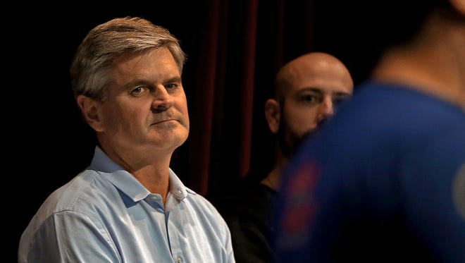 AOL founder Steve Case sat with four other judges as entrepreneurs made pitches for $100,000 in Ride of the Rest Road Trip event held at the Science Center of Iowa in Des Moines on Wednesday Oct. 8, 2014.
