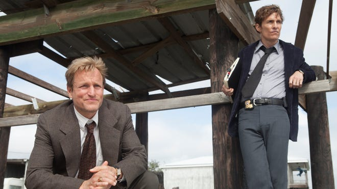 """Woody Harrelson, left, and Matthew McConaughey from the HBO series """"True Detective."""" McConaughey and the series won top TCA Awards."""