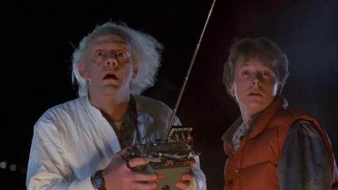 "Michael J. Fox, right, stars as Marty McFly in the 1985 time-travel comedy ""Back to the Future"" that will play at the Movies at Meadville."