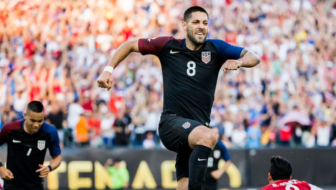 USA forward Clint Dempsey (No.8) celebrates his goal in the first half of the USA's 1-0 win over Paraguay in their Copa America Group A game at Lincoln Financial Field in Philadelphia on Saturday evening.