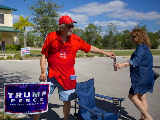 Bob Patteri, 76, of Cedar Hammock, campaigned outside New Hope Ministries for Donald Trump on Nov. 8, 2016. He said he'd been there for six hours.