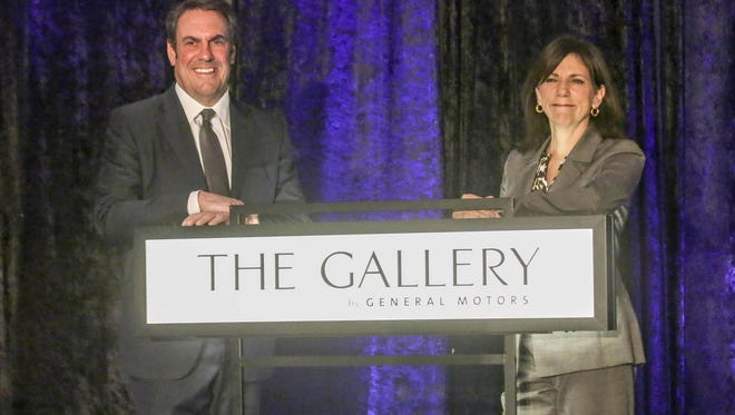Mark Reuss, executive vice president of global development, purchasing and supply chain for General Motors joins Patricia Mooradian, president and CEO of the Henry Ford to announce GM's $5 million contribution to the Henry Ford in Dearborn on Tuesday Oct. 17, 2017.