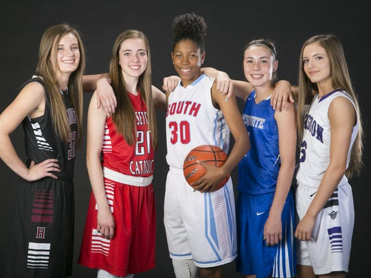 The American Family Insurance ALL-USA Arizona girls basketball team (from left): Hamilton's Maddie Frederick, Seton Catholic's Sarah Barcello, South Mountain's Najiyyah Pack, Mesquite's Shaylee Gonzales and Valley Vista's Taylor Chavez.
