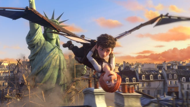 Victor (voiced by Nat Wolff) and Félicie (Elle Fanning) fly high above Paris in 'Leap!'