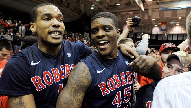 Robert Morris forward Mike McFadden, left, and forward Keith Armstrong, right, return in 2013-14.