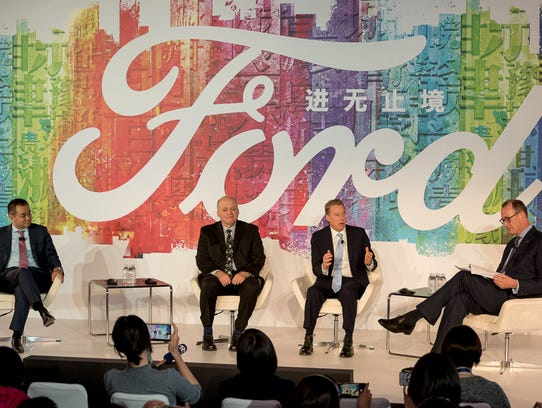 Ford outlined the next phase of its China expansion strategy, with, from left, Jason Luo, Chairman and CEO, Ford China, Jim Hackett, CEO, Ford Motor Company, Bill Ford, Executive Chairman, Ford Motor Company, Peter Fleet, Group Vice President and President, Ford Asia Pacific.