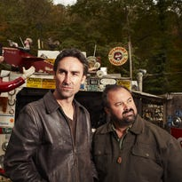 """Mike Wolfe (left) and Frank Fritz, stars of the History Channel show """"American Pickers,"""" are headed back to Wisconsin in June."""