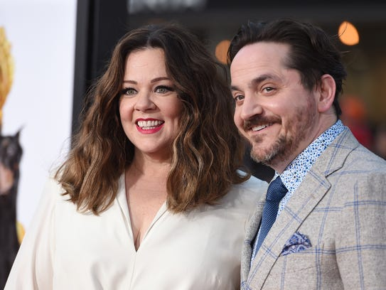 Melissa McCarthy, left, and Ben Falcone arrive at the