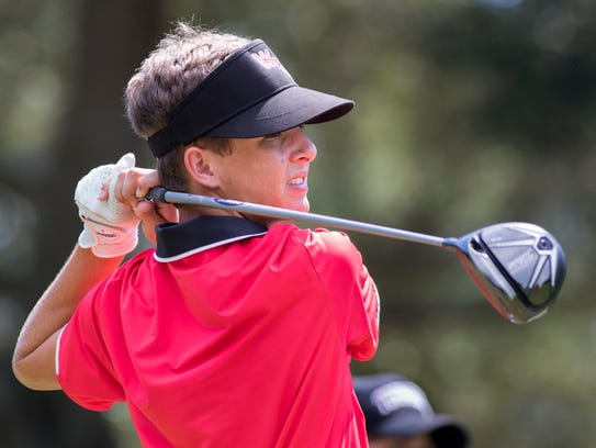 West Florida High School's Cameron Bonner tees off
