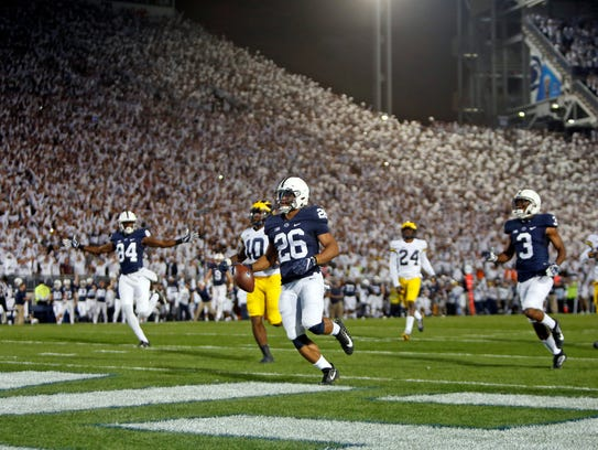 Saquon Barkley #26 of Penn State rushes for a 69 yard