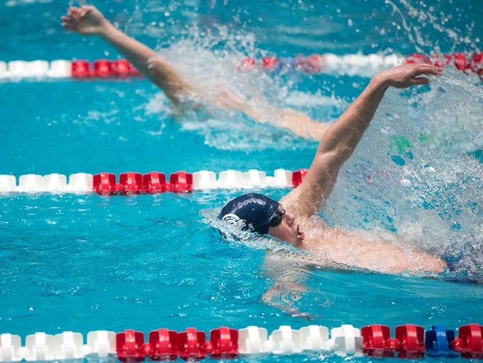 Chambersburg's Avery Barley swims the boys backstroke