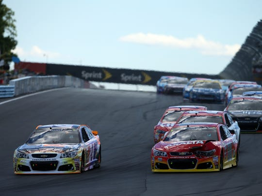 Drivers compete in last year's Monster Energy NASCAR