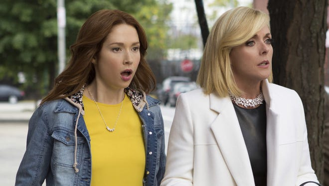 "Ellie Kemper, left, and Jane Krakowski in Netflix's ""Unbreakable Kimmy Schmidt,"" returning for a second season Feb. 19 on Netflix."