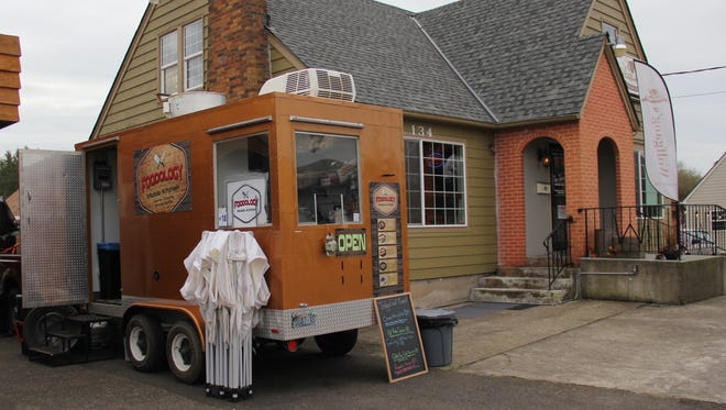 The Foodology Mobile Kitchen is set up outside of Wolfgang's Thirst Parlor Tap House in Stayton.