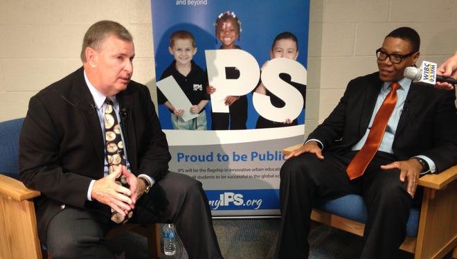 Indianapolis Mayor Greg Ballard and Indianapolis Public Schools Superintendent Lewis Ferebee discuss the mayor's $50-million preschool proposal Wednesday, Aug. 6, at IPS School 55.