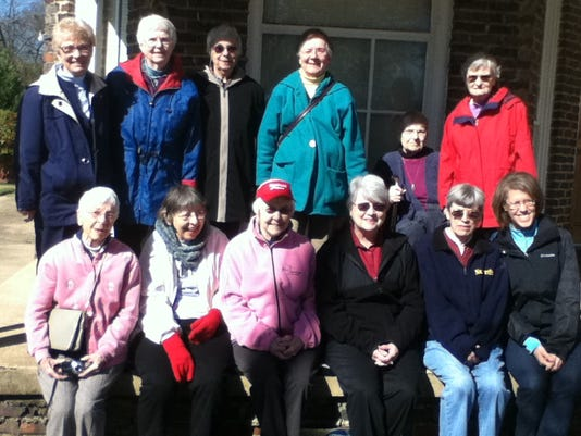 Srs at the front step of old convent in Selma waiting for parade.JPG