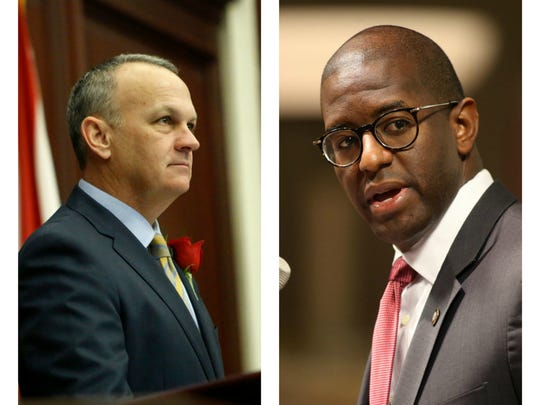 Florida House Speaker Richard Corcoran (left) and Tallahassee