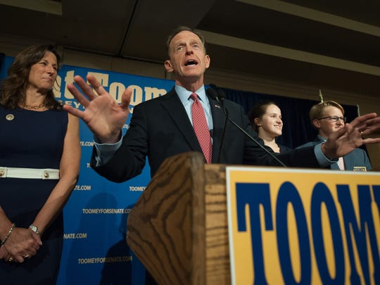 U.S. Sen. Pat Toomey of Pennsylvania speaks to supporters following his election victory Nov. 8 in Breinigsville, Pa.