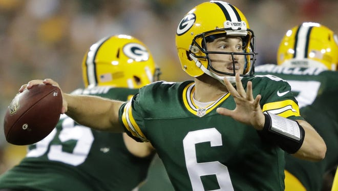 Green Bay Packers QB Joe Callahan (6) looks to make a pass during their game against the Cleveland Browns on Aug. 12 at Lambeau Field.