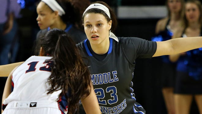 MTSU forward Gabby Lyon (23) is averaging 7.2 points and 5.7 rebounds per game.