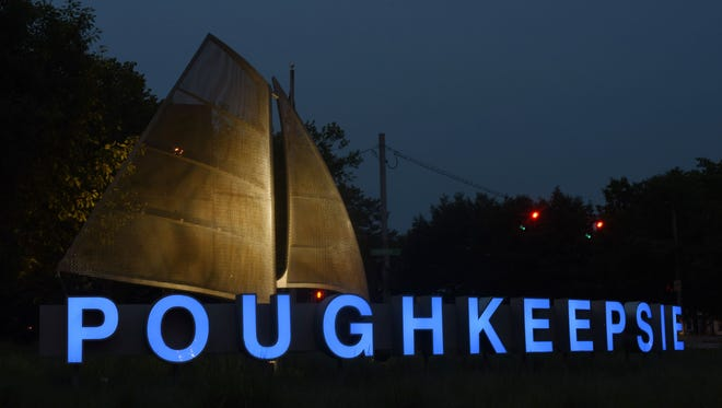"""The """"Poughkeepsie"""" sign located on the Arterial east of the Mid-Hudson Bridge."""