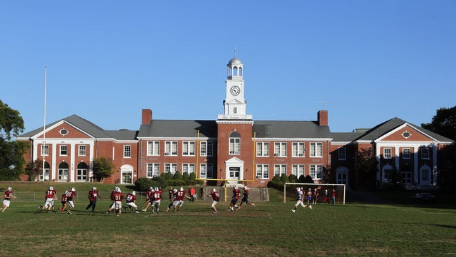 The Nyack High School football team practices at MacCalman Field Oct. 5, 2016. This year marks the final year that Nyack High School will play its home games at the field, which opened in 1928. Dan Berkowitz, coach of the junior varsity football team is hoping to create a miniature version of the brick building and its clocktower at the new turf field located at the high school on Christian Herald Road. The plan is for the new football complex to be called Stacey Sennas and Welles Crowther Tower, for the two Nyack grads who died on in the Sept. 11th attacks on the World Trade Center.
