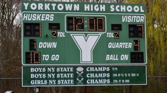 Yorktown High School scoreboard.