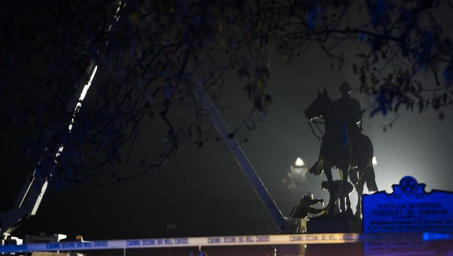 The Nathan Bedford Forrest statue was removed from a Memphis park on Dec. 20, 2017.