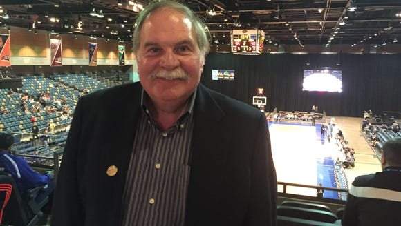 Ned Hirsch, pictured at last year's Big Sky Conference tournament in Reno, is on a mission to see every Division I men's basketball team play in person. His quest has taken him to Sioux Falls.
