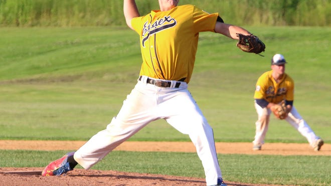 Essex Post 91 pitcher Riley Fitzgerald fires in a pitch during the American Legion baseball game against Franklin County.