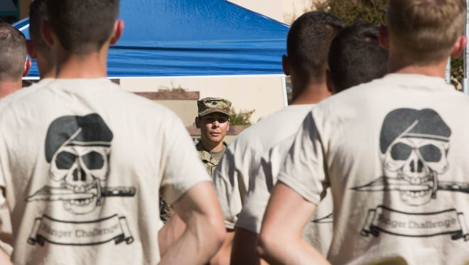 Lt. Col. Blanca Reyes, professor of military science at New Mexico State University, addresses 100 Army ROTC cadets at the opening ceremony for 25th annual Brigade Ranger Challenge Competition, Friday October 20, 2017 at the Horseshoe at NMSU.