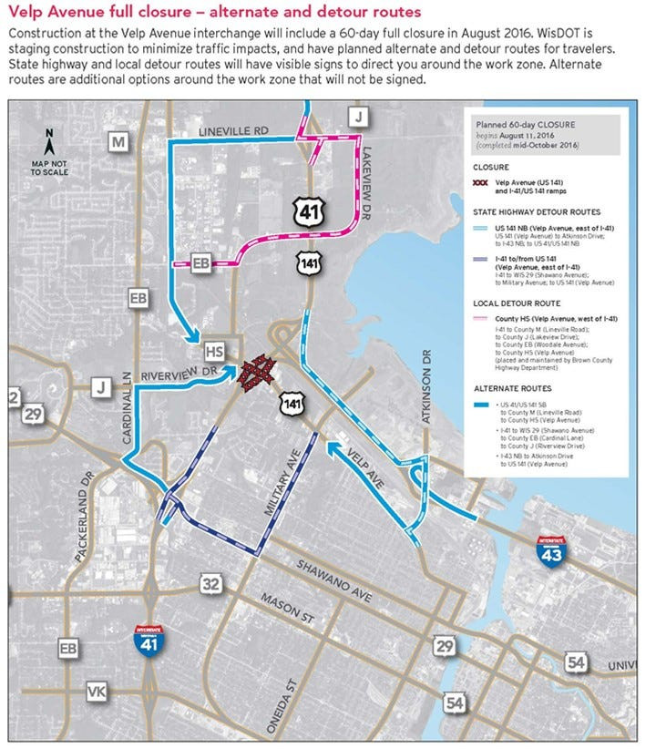Velp Avenue to close at I41 for 60 days