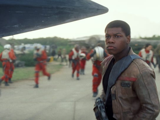 "John Boyega as Finn in a scene from ""Star Wars: The"