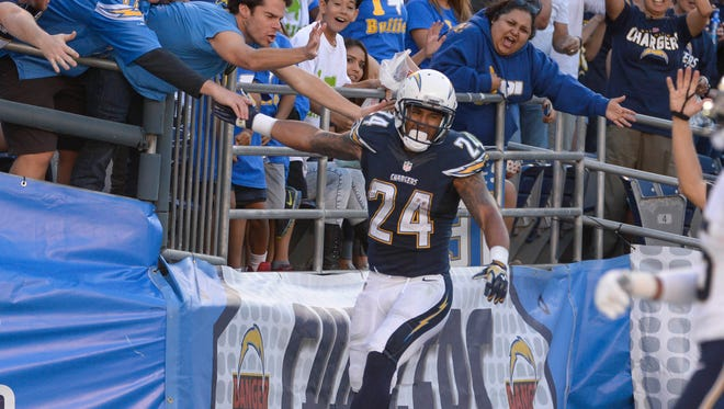 Nov 23, 2014: San Diego Chargers running back Ryan Mathews (24) celebrates his second half touchdown against the St. Louis Rams with fans at Qualcomm Stadium.