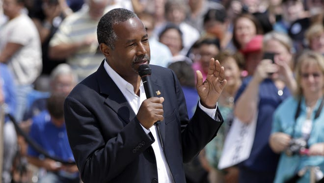 Republican presidential candidate Ben Carson speaks Aug. 27 at a rally in Little Rock, Arkansas.