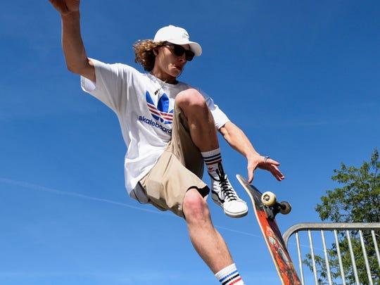 Carson Freeman gets air off a metal ramp at Drake Springs