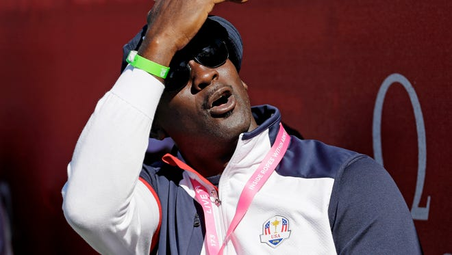 Michael Jordan, shown watching a four-ball match at the 2016 Ryder Cup golf tournament Oct. 1 at Hazeltine National Golf Club in Chaska, Minnesota, is planning to build his own golf course in Hobe Sound.