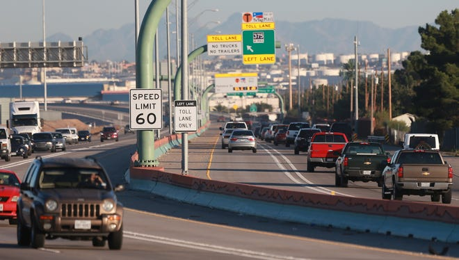 Vehicles travel on the Cesar Chavez Border Highway.
