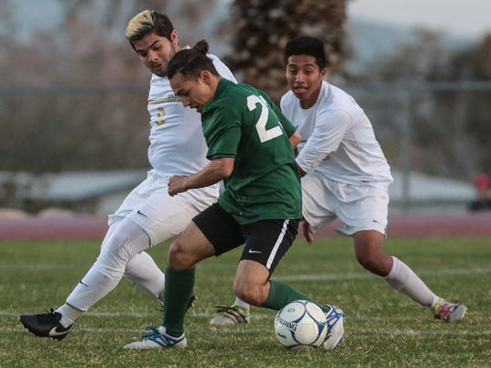 Desert Hot Springs played Nogales in the 2nd round of the Division 6 CIF boys soccer tournament on Wednesday, February 22, 2017 in Desert Hot Springs.
