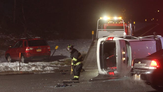 A two-vehicle crash in Penfield sent one person to the hospital with minor injuries on Monday.